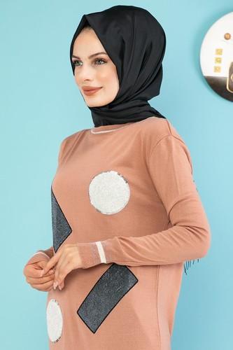 Modaebva - Pul Detay Küçük Yırtmaçlı Triko Elbise-3300 Gülkurusu (1)