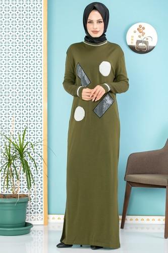 Modaebva - Pul Detay Küçük Yırtmaçlı Triko Elbise-3300 Hakiyeşil (1)