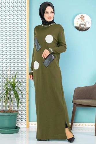 Modaebva - Pul Detay Küçük Yırtmaçlı Triko Elbise-3300 Hakiyeşil
