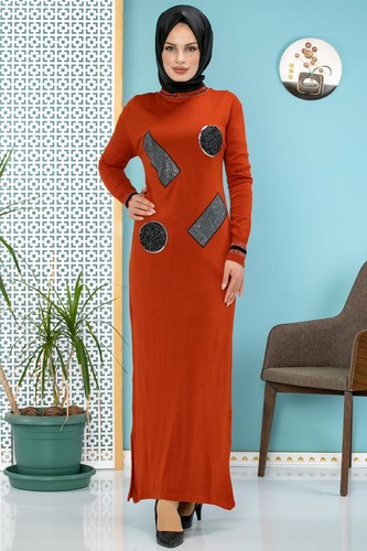 Modaebva - Pul Detay Küçük Yırtmaçlı Triko Elbise-3300 kiremit