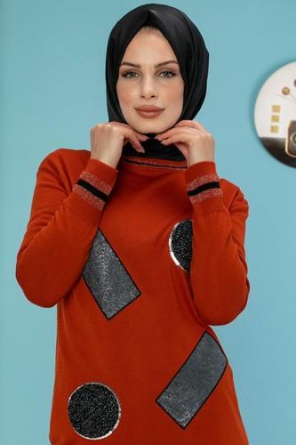 Modaebva - Pul Detay Küçük Yırtmaçlı Triko Elbise-3300 kiremit (1)