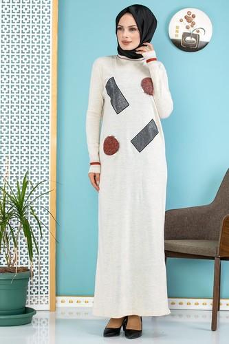 Modaebva - Pul Detay Küçük Yırtmaçlı Triko Elbise-3300 Krem