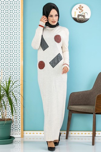 Modaebva - Pul Detay Küçük Yırtmaçlı Triko Elbise-3300 Krem (1)