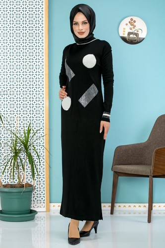 Modaebva - Pul Detay Küçük Yırtmaçlı Triko Elbise-3300 Siyah (1)