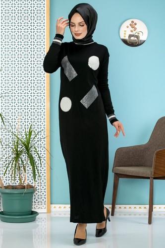 Modaebva - Pul Detay Küçük Yırtmaçlı Triko Elbise-3300 Siyah