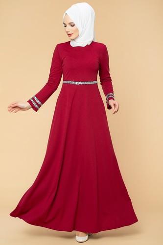 Modaebva - Pul Detaylı Tesettür Elbise-1006 Bordo