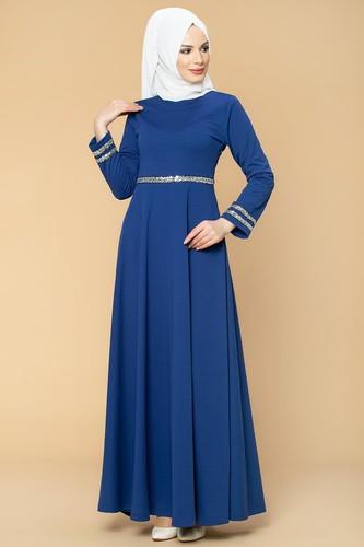 Modaebva - Pul Detaylı Tesettür Elbise-1006 Saksmavisi