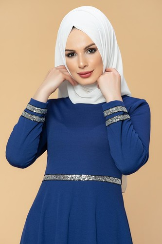 Modaebva - Pul Detaylı Tesettür Elbise-1006 Saksmavisi (1)