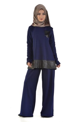 - Pul Payet Cep Detaylı Pantolonlu Takım Lacivert-2036