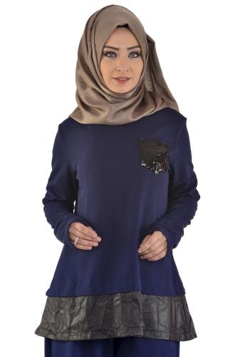 - Pul Payet Cep Detaylı Pantolonlu Takım Lacivert-2036 (1)