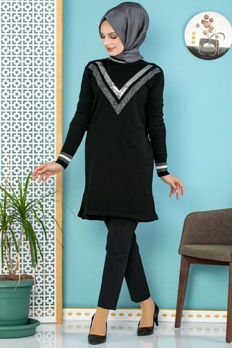 Modaebva - Pul Payet Detaylı Tesettür Triko Tunik-3700 Siyah