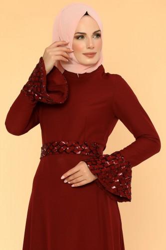 Modaebva - Pul Payet Volan Kol Tesettür Elbise-2059 Bordo (1)
