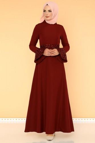 Modaebva - Pul Payet Volan Kol Tesettür Elbise-2059 Bordo