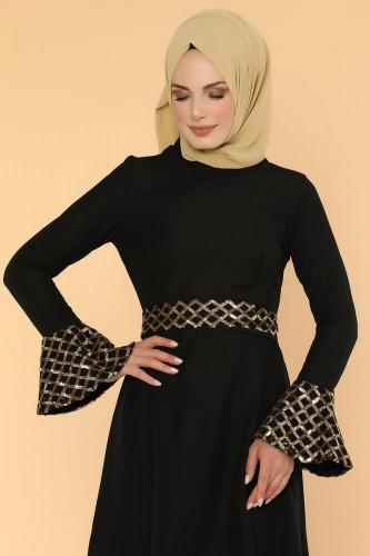 Modaebva - Pul Payet Volan Kol Tesettür Elbise-2059 Siyah (1)