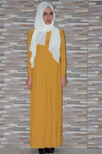 Modaebva - Sandy Pileli elbise-Hardal1921