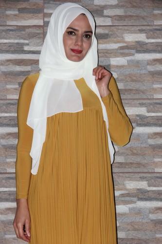 Modaebva - Sandy Pileli elbise-Hardal1921 (1)