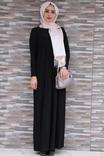 Modaebva - Sandy Pileli elbise-Siyah1921