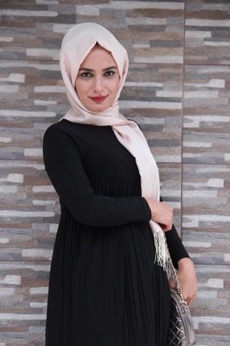 Modaebva - Sandy Pileli elbise-Siyah1921 (1)