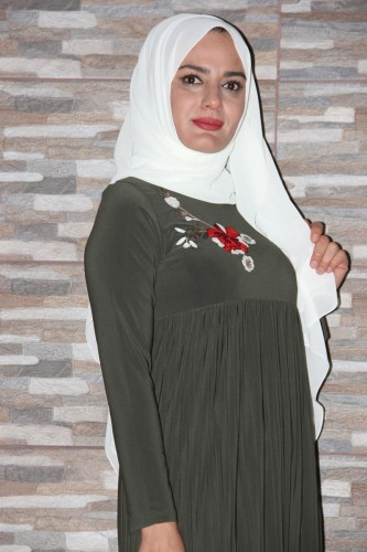 Modaebva - Sandy Pileli Nakışlı Elbise Yeşil-0510 (1)