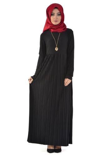 - Sandy Pileli Ve Kolyeli Elbise Siyah- 4004