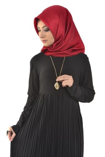 - Sandy Pileli Ve Kolyeli Elbise Siyah- 4004 (1)