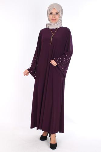 - Sandy Volan Kol İncili Elbise-0544 Mor