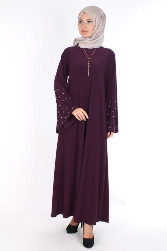 - Sandy Volan Kol İncili Elbise-0544 Mor (1)