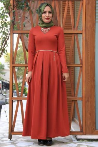 Modaebva - Savaroski Kolye Detaylı Elbise Kiremit-4060