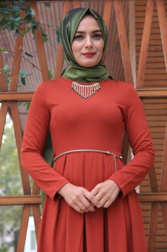 Modaebva - Savaroski Kolye Detaylı Elbise Kiremit-4060 (1)
