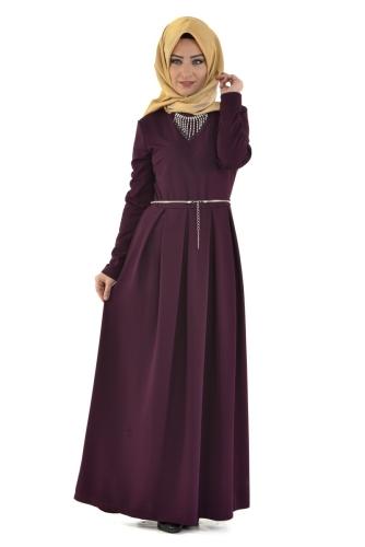 Modaebva - Savaroski Kolyeli Elbise Mürdüm-4060