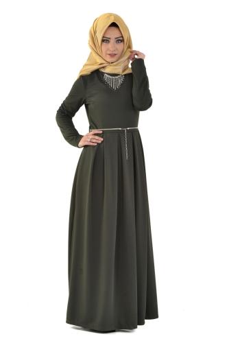 Modaebva - Savaroski Kolyeli Elbise Yeşil-4060 (1)