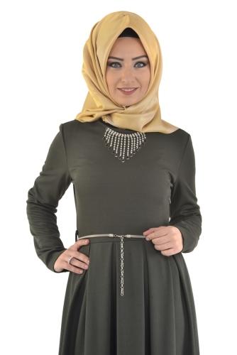 Modaebva - Savaroski Kolyeli Elbise Yeşil-4060