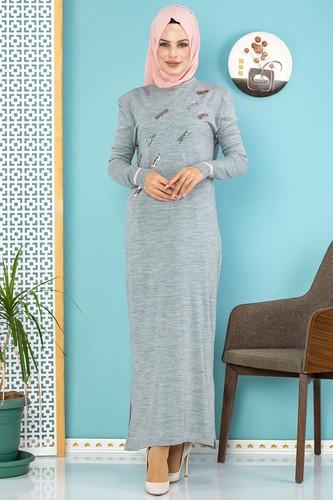 Modaebva - Sena Pul Detaylı Triko Elbise-3100 Gri