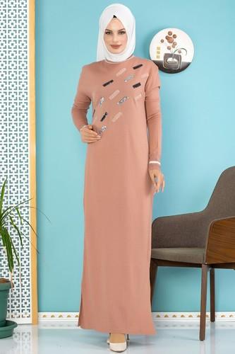 Modaebva - Sena Pul Detaylı Triko Elbise-3100 Gülkurusu