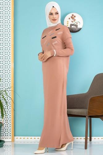 Modaebva - Sena Pul Detaylı Triko Elbise-3100 Gülkurusu (1)