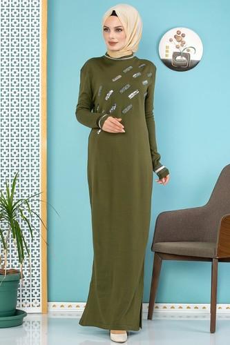 Modaebva - Sena Pul Detaylı Triko Elbise-3100 Hakiyeşil