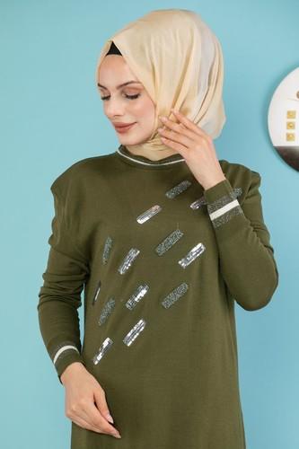Modaebva - Sena Pul Detaylı Triko Elbise-3100 Hakiyeşil (1)