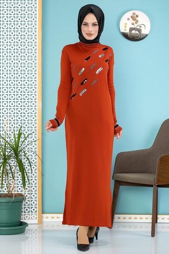 Modaebva - Sena Pul Detaylı Triko Elbise-3100 Kiremit