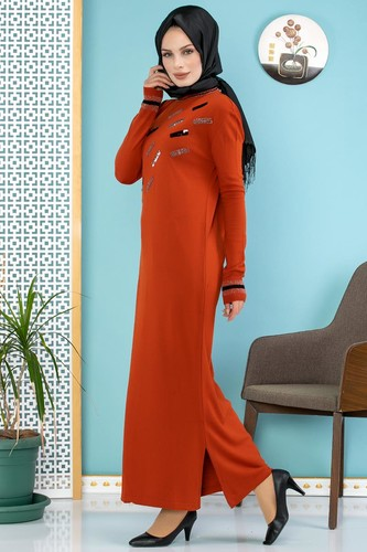 Modaebva - Sena Pul Detaylı Triko Elbise-3100 Kiremit (1)