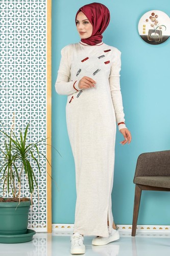 Modaebva - Sena Pul Detaylı Triko Elbise-3100 Krem