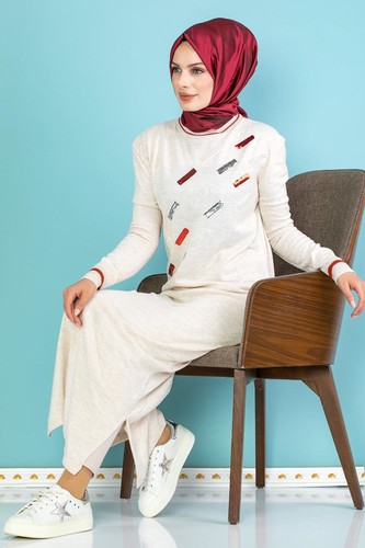 Modaebva - Sena Pul Detaylı Triko Elbise-3100 Krem (1)