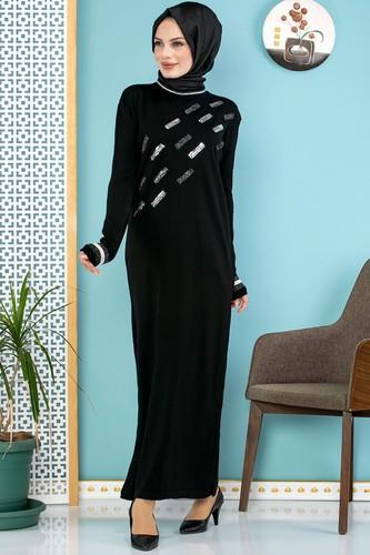 Modaebva - Sena Pul Detaylı Triko Elbise-3100 Siyah