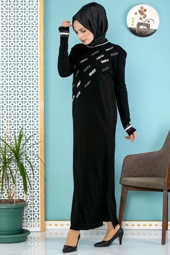 Modaebva - Sena Pul Detaylı Triko Elbise-3100 Siyah (1)