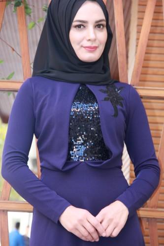 Modaebva - Siyah Pul Payetli Abiye Mor-0046 (1)