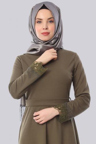 Modaebva - Taş Ve Güpür Detay Elbise-Yeşil 3506 (1)
