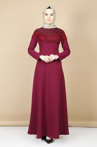 - Taş Ve Püskül Detaylı Elbise-Mürdüm0074 (1)