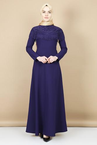 Modaebva - Taş Ve Püskül Detaylı Elbise-Mor0074