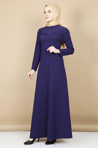 Modaebva - Taş Ve Püskül Detaylı Elbise-Mor0074 (1)