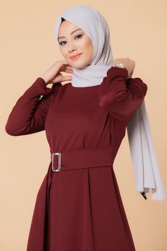 Modaebva - Toka Detaylı Tesettür Elbise-3021 Bordo (1)