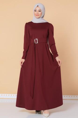 Modaebva - Toka Detaylı Tesettür Elbise-3021 Bordo